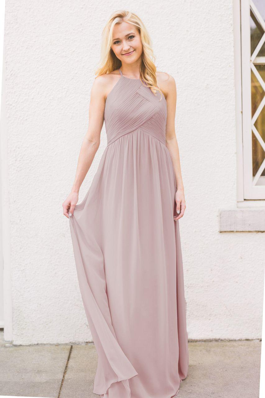 7e332b9c798 Mackenzie in Chiffon High Neck Bridesmaid Dress