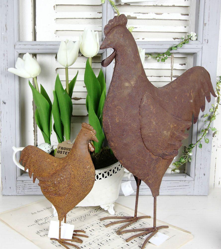 Schaukelpferd Holz Deko Vintage Landhaus Shabby Advent: Details Zu Huhn Metall Rost Frühling Ostern Deko Vintage