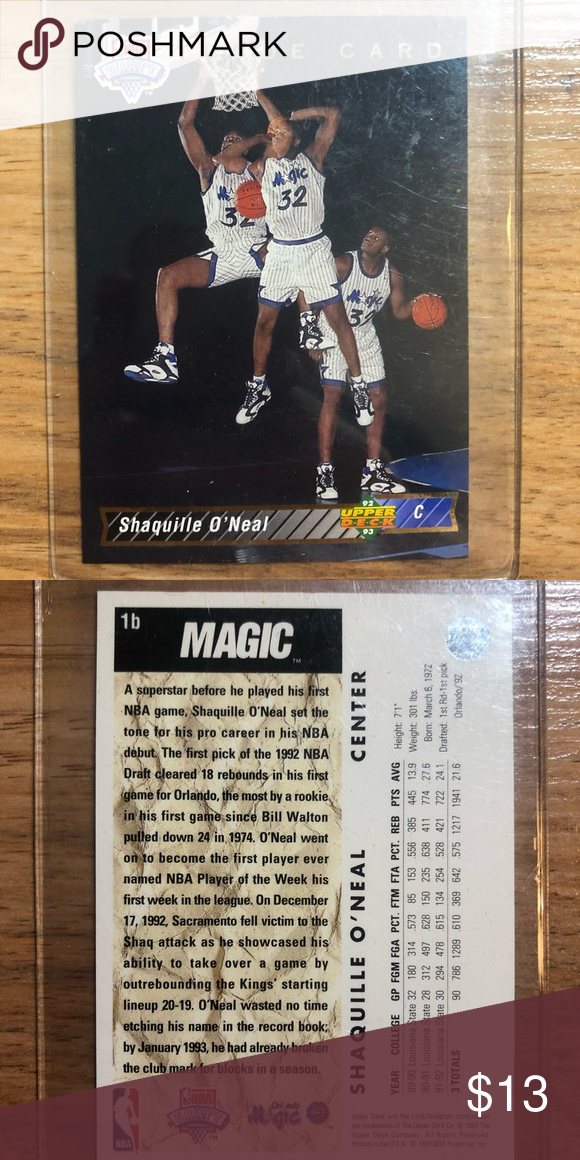 Shaquille Oneal Rookie Card Upper Deck Basketball
