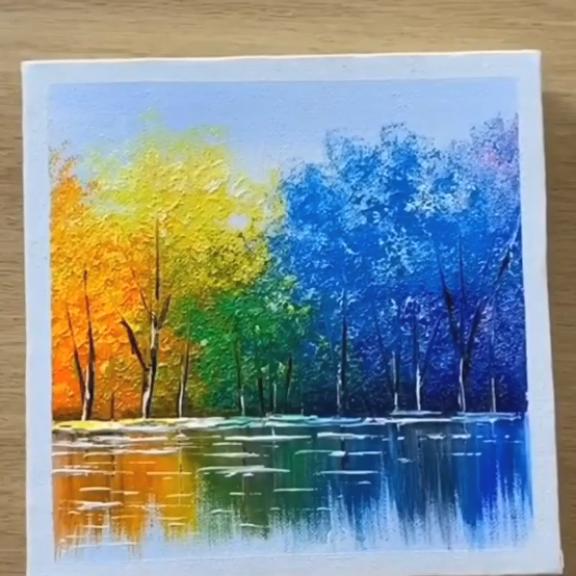 Decouvrez Un Autre Exemple Merveilleux Peinture Sur Toile Facile Peinture Esthetique Peinture So Peinture Lac Idees De Peinture Sur Toile Peinture Abstraite