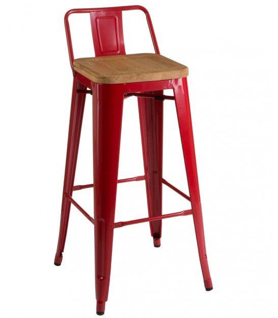 7a4d5c304b3df Chaise de Bar en Métal Rouge et Assise en Bois de Frêne Style Industriel