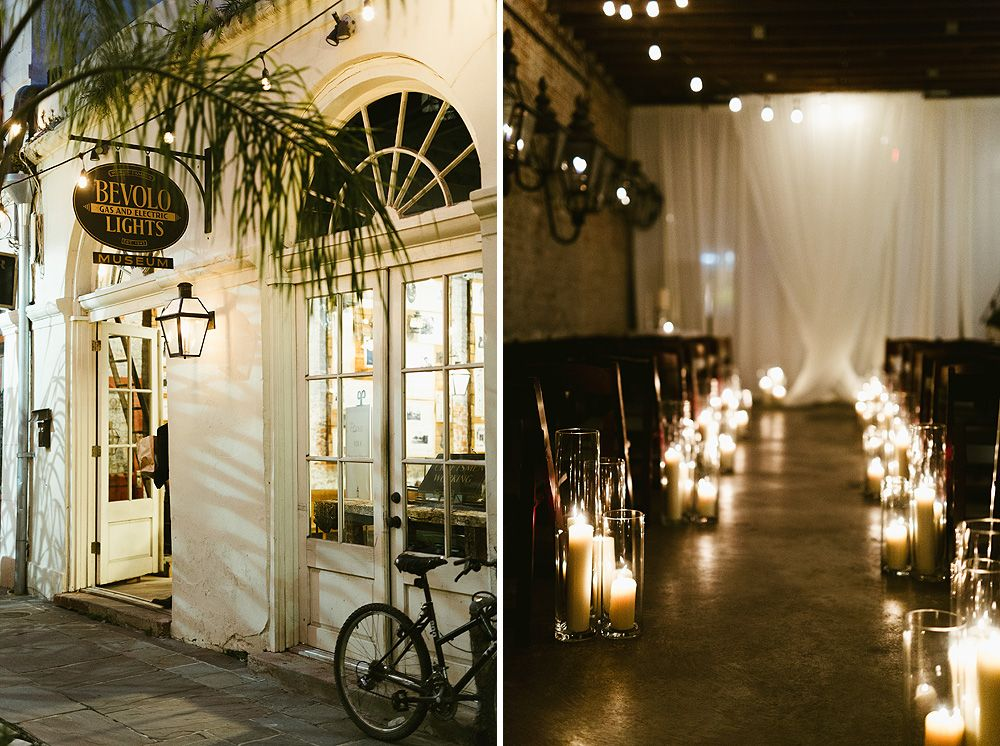 Bevolo gas electric lights museum wedding like the white curtain for a backdrop for ceremony