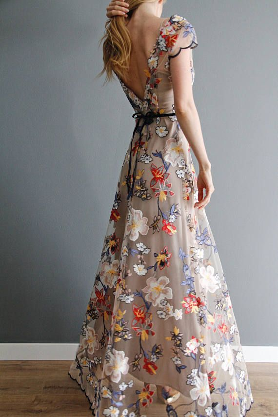 This stunning maxi evening gown, made of high quality fabric, will adorn any womens wardrobe. You will feel like a queen attending any kind of celebration. The flowers are the threads on a high quality tulle. The dress holds its form and does not need an ironing.  The lace dress is transparent, and underlined with black satin underdress which you can wear as a separate dress. --------------------------------------------------  Sizes: XS/34/US4: bust: 80-84 31.5-33 waist: 60-64 cm 23... #backlesscocktaildress
