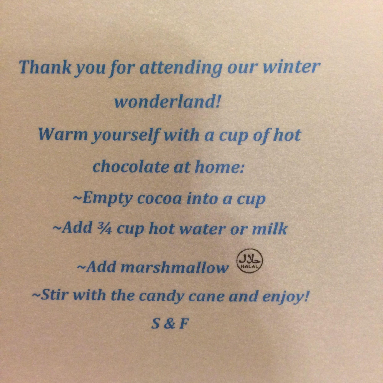 winter wedding hot cocoa favor instructions sample