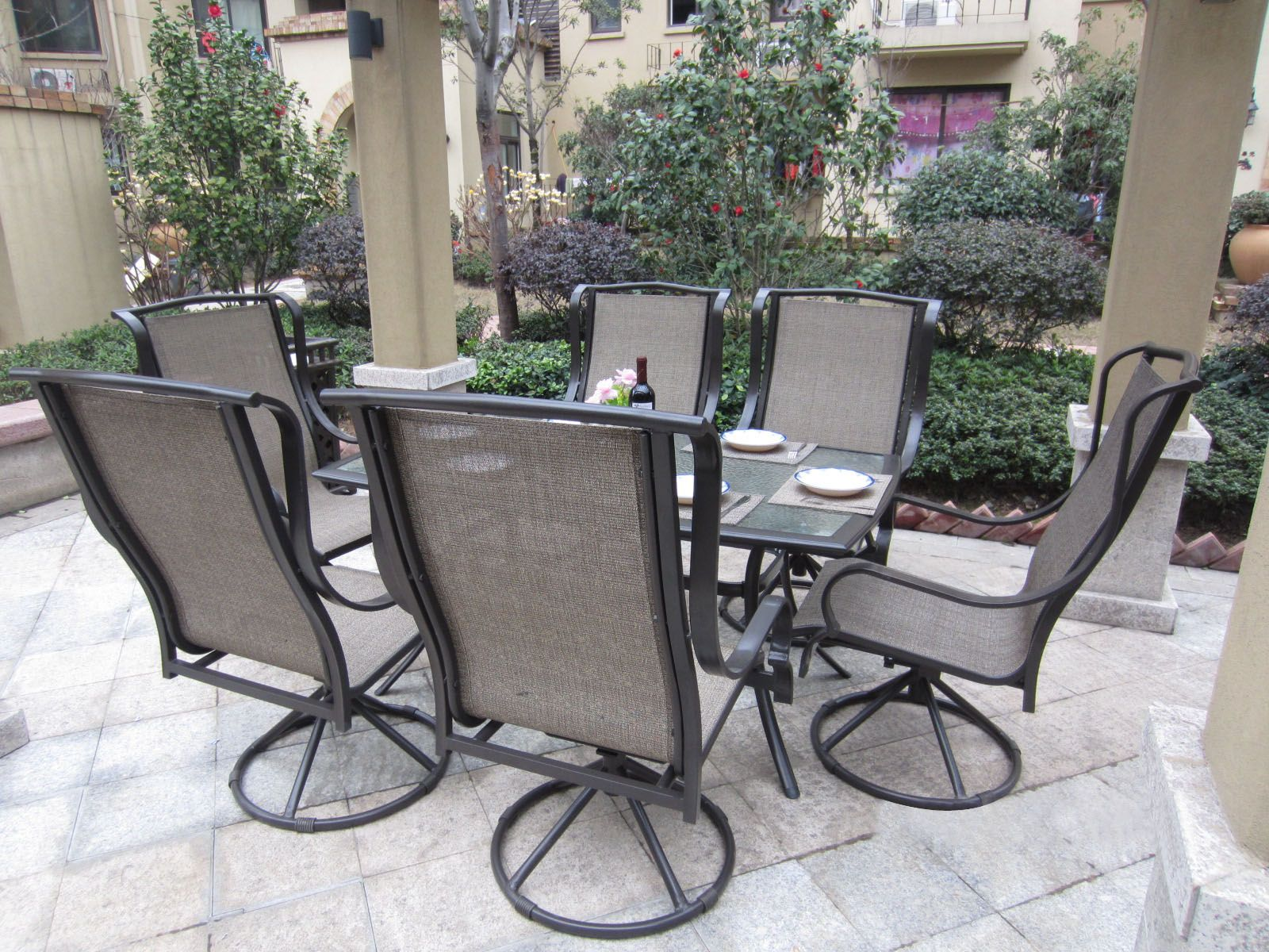 Grand Regent 7pc Swivel Rocking Sling Patio Dining Set Patio