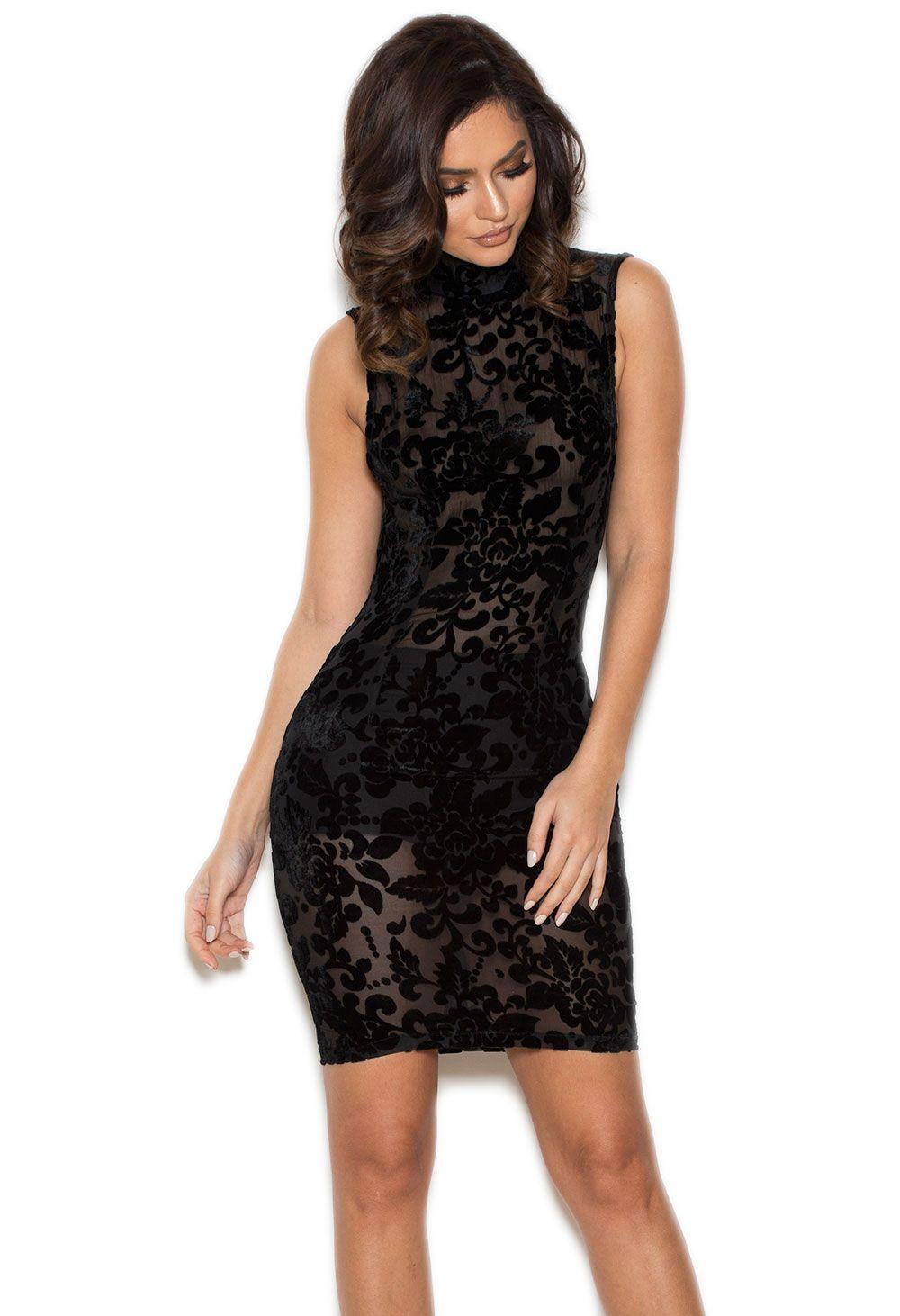 Clothing : Bodycon Dresses : \'Nereza\' Black Lace Devore Backless ...