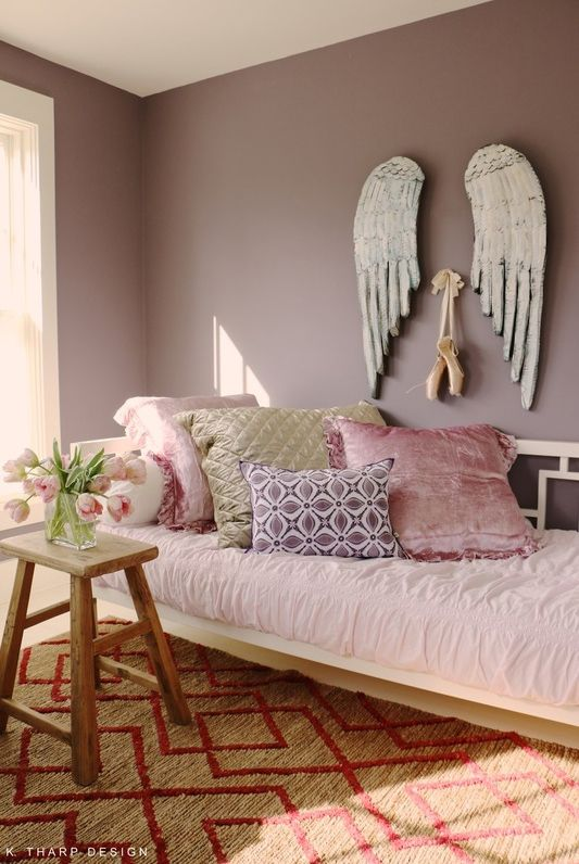 Mauve Bedroom. A perfect pink and mauve bedroom for a  tween Farrow Ball Brassico aged paint Raspberry patterned rug