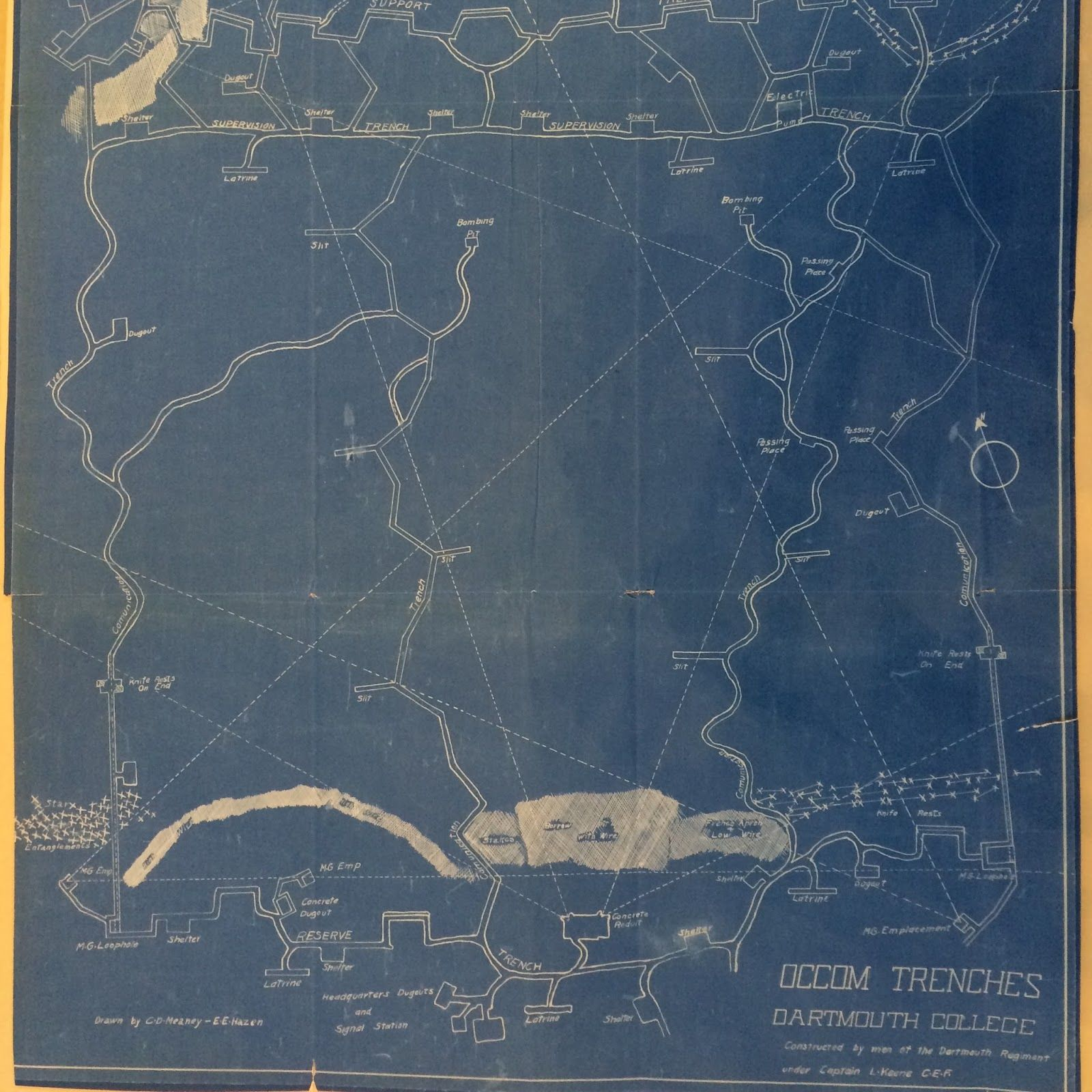 map of fake trenches dug for training purposes at Dartmouth College
