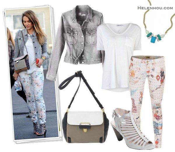 Style denim jacket; how to wear floral printed pants; how to wear midi skirt; street style, airport style;  On Jessica Alba: Jewels By Dunn ...