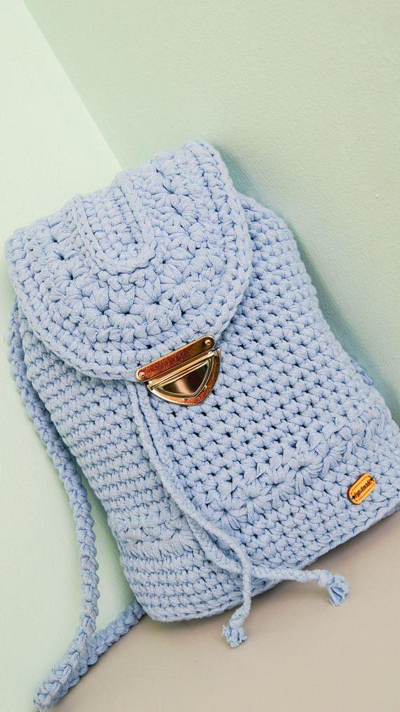 Crochet Backpack Blue Backpack Woman Backpack Crochet Bag Knit