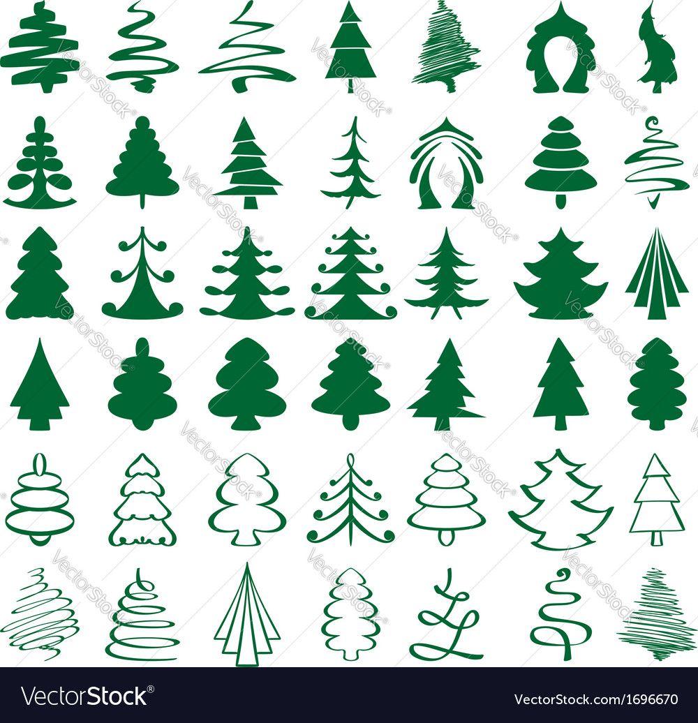 Christmas Trees Sketch Set Vector Image On Vectorstock Christmas Tree Sketch Tree Sketches Symbol Drawing