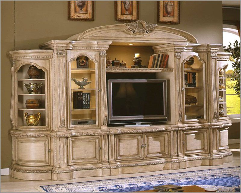 6 Pc Antique White Finish Wood Entertainment Center Wall Unit With Carved  Accents And Bridge With Crown Carving Nice Look