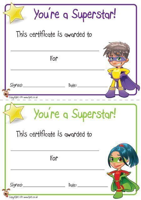 Free Kid Certificates Superheros  Google Search  Job