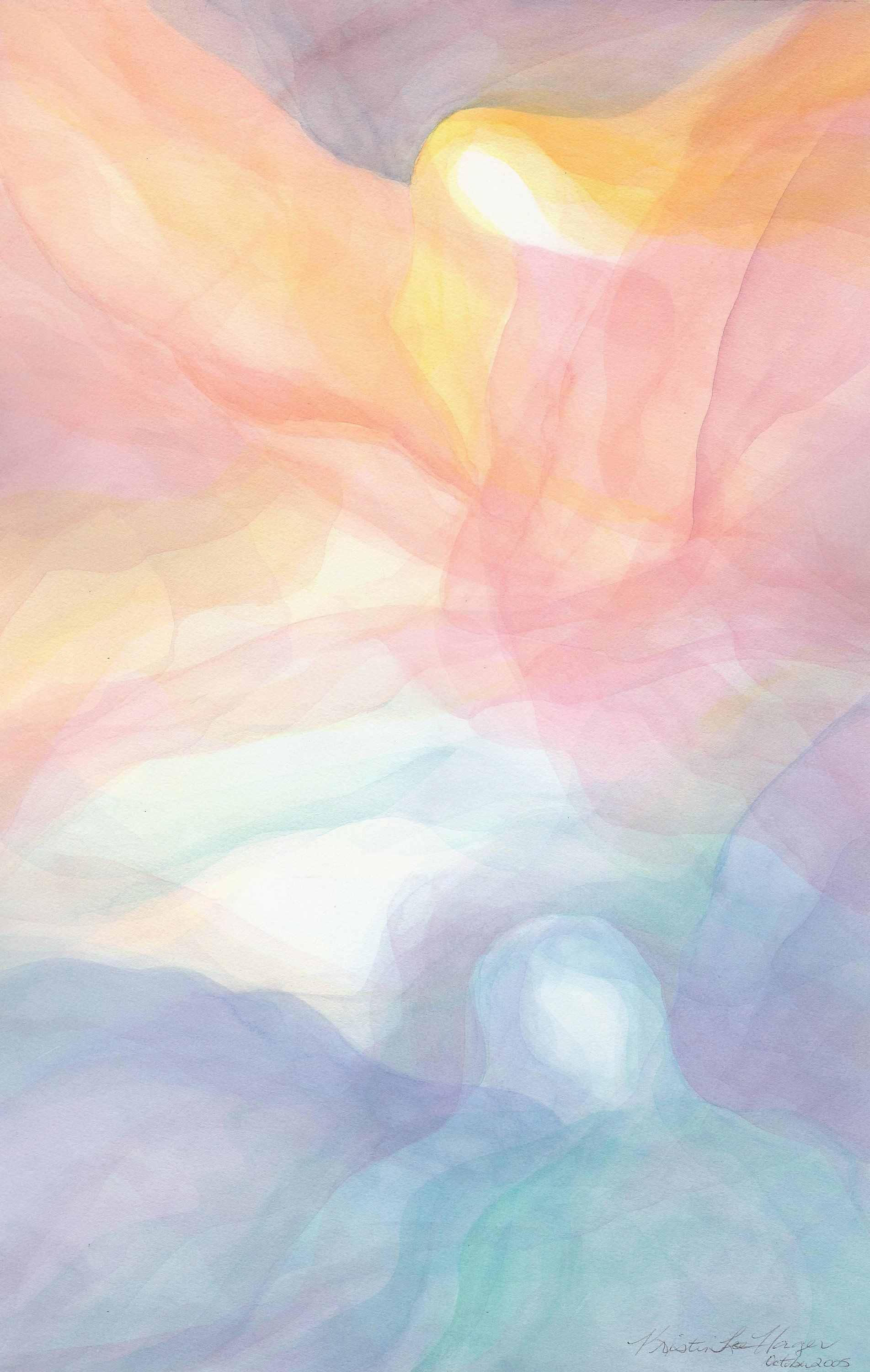 Angels on High - Veil Watercolor Painting - Print