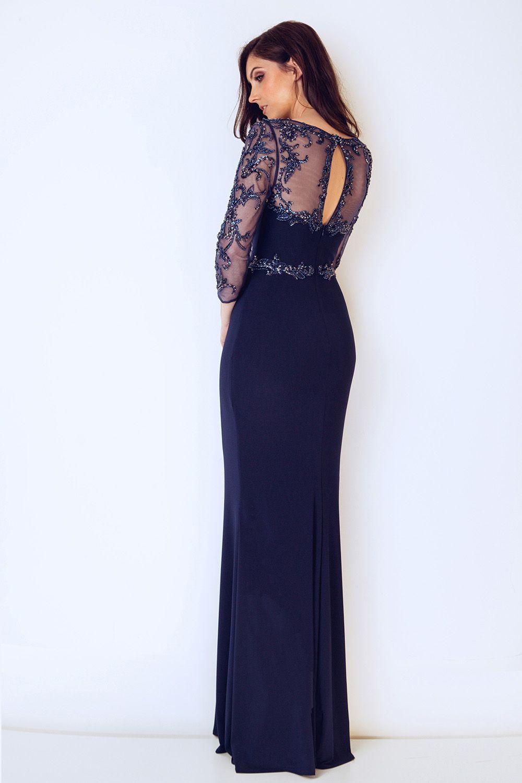 631318930480 Dynasty London Long sleeved back detailed long dress