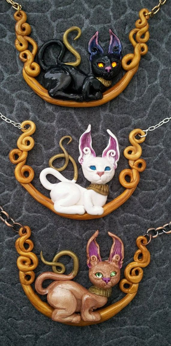Cat Necklace by MakoslaCreations on Etsy, $30.00