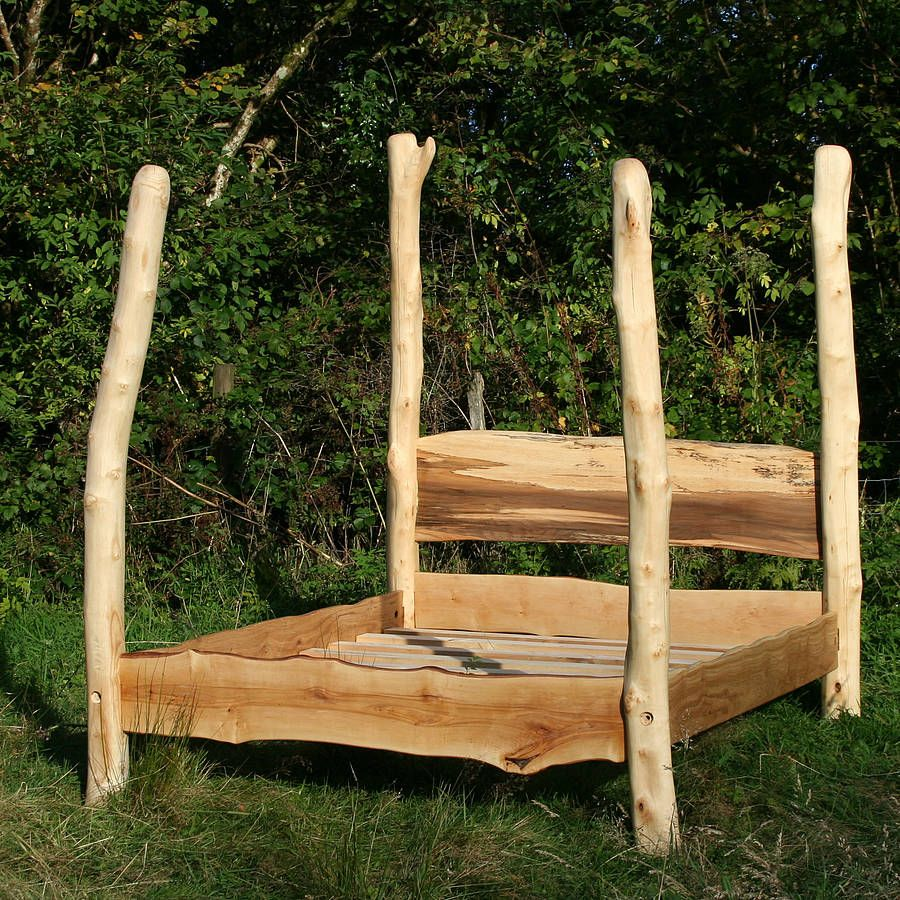 Rustic Driftwood Four Poster Bed Four poster bed