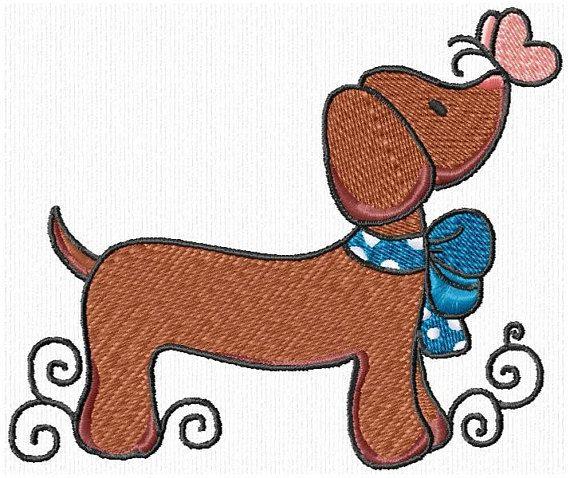 Cute Dachshund Daschuond Doxie Dogs Machine Embroidery Designs