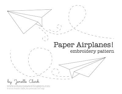 free paper airplane embroidery pattern