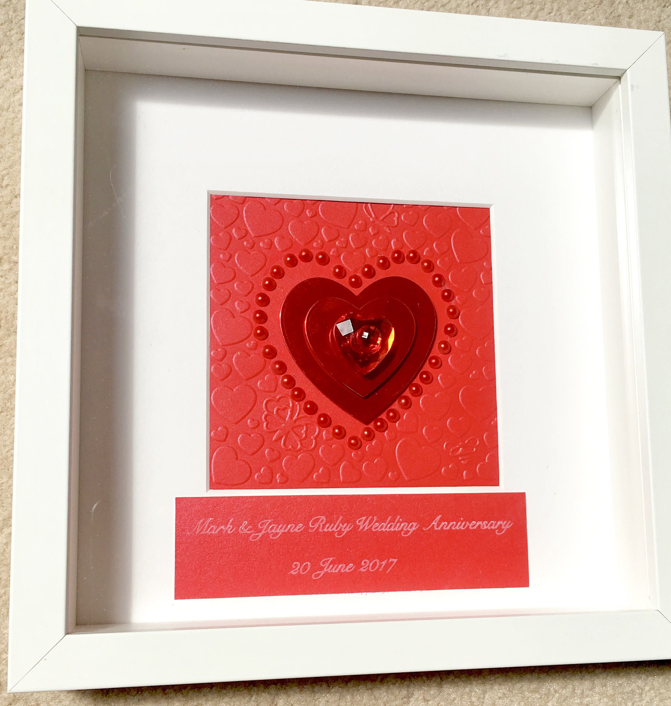40th Ruby Anniversary Frame Wedding Gift Box Personalised