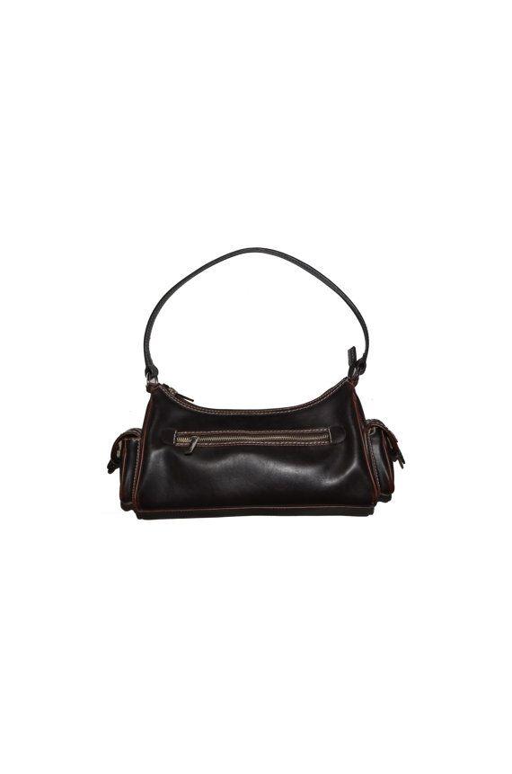 Vintage Liz Clairborne, Dark Brown Villager LC Purse, Vintage handbag, Retro style purse, Boho Shoulder bag, 1990s shoulder bag, 90s purse