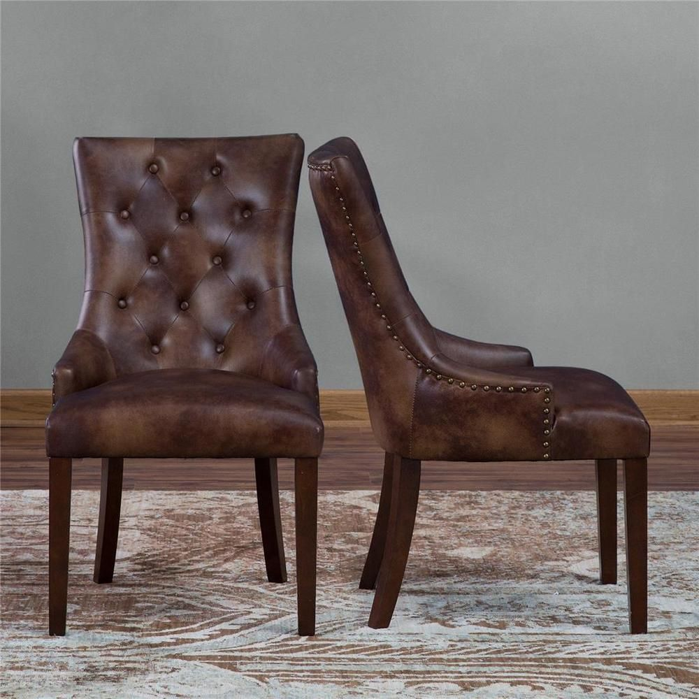 Set Of 2 Rich Brown Leather Dining Chairs Rustic Tufted Nailheads