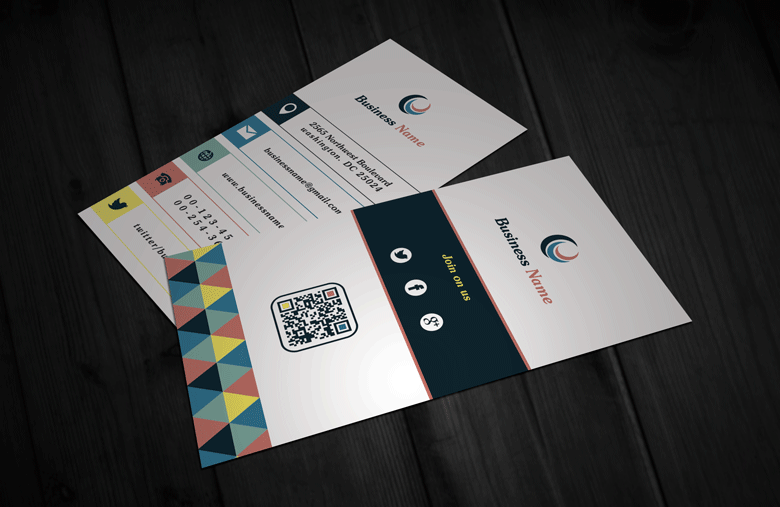 Free Modern Retro Vertical Business Card Template download
