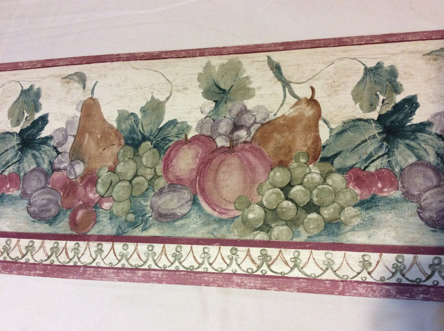 French Country Full Vintage Fruit Wallpaper Border 5 yards