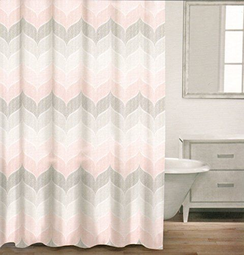 Caro Home 100% Cotton Shower Curtain Wide Stripes Chevron Fabric Shower  Curtain Zig Zag White