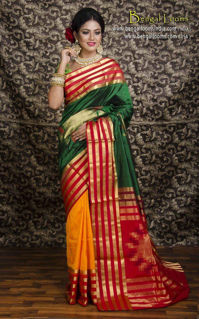 Pure South Silk Saree In Half And Half Design In Bottle Green And Orange South Silk Sarees Saree Simple Sarees