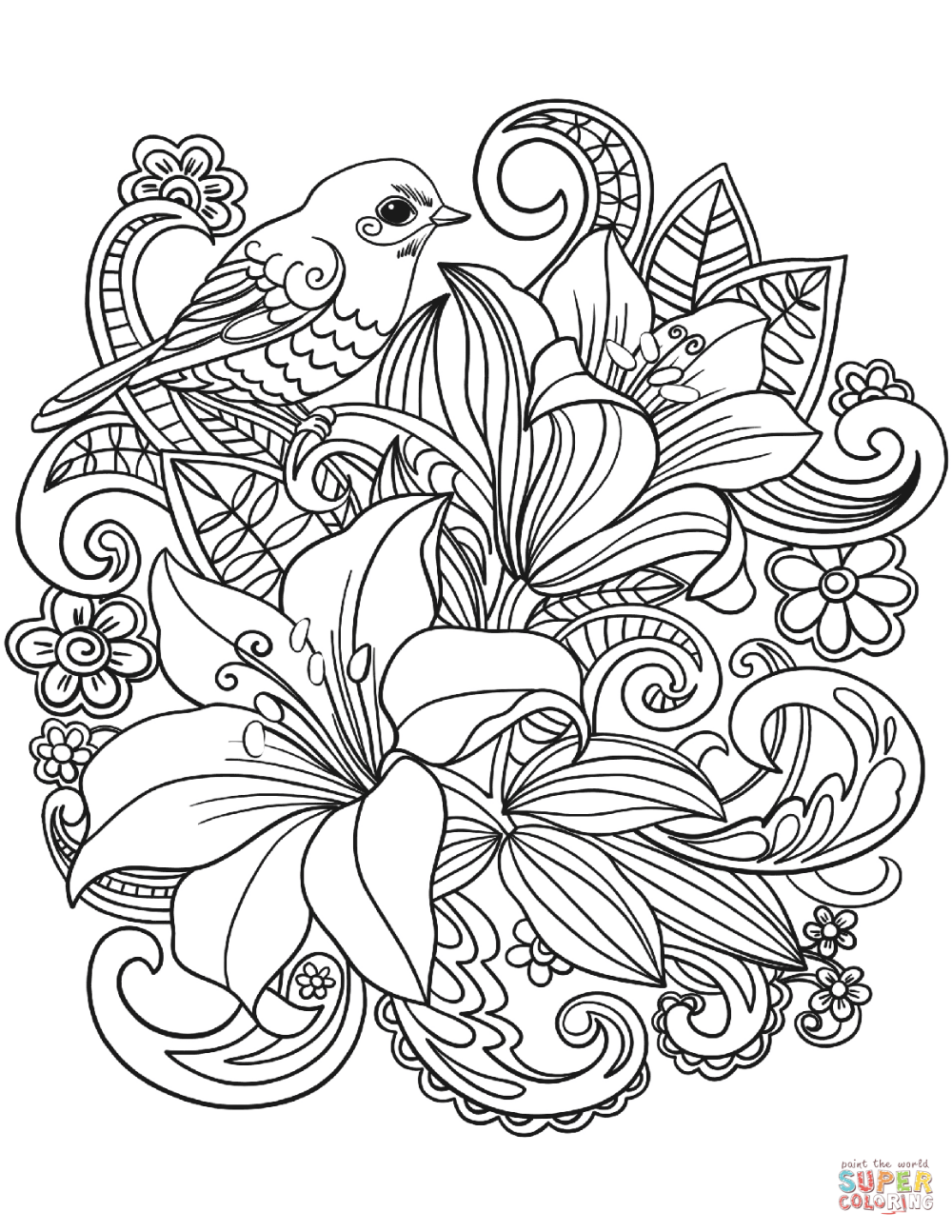 Dibujo De Alondra Y Flores Para Colorear Dibujos Para Colorear Imprimir Gratis Printable Flower Coloring Pages Mandala Coloring Pages Flower Coloring Sheets