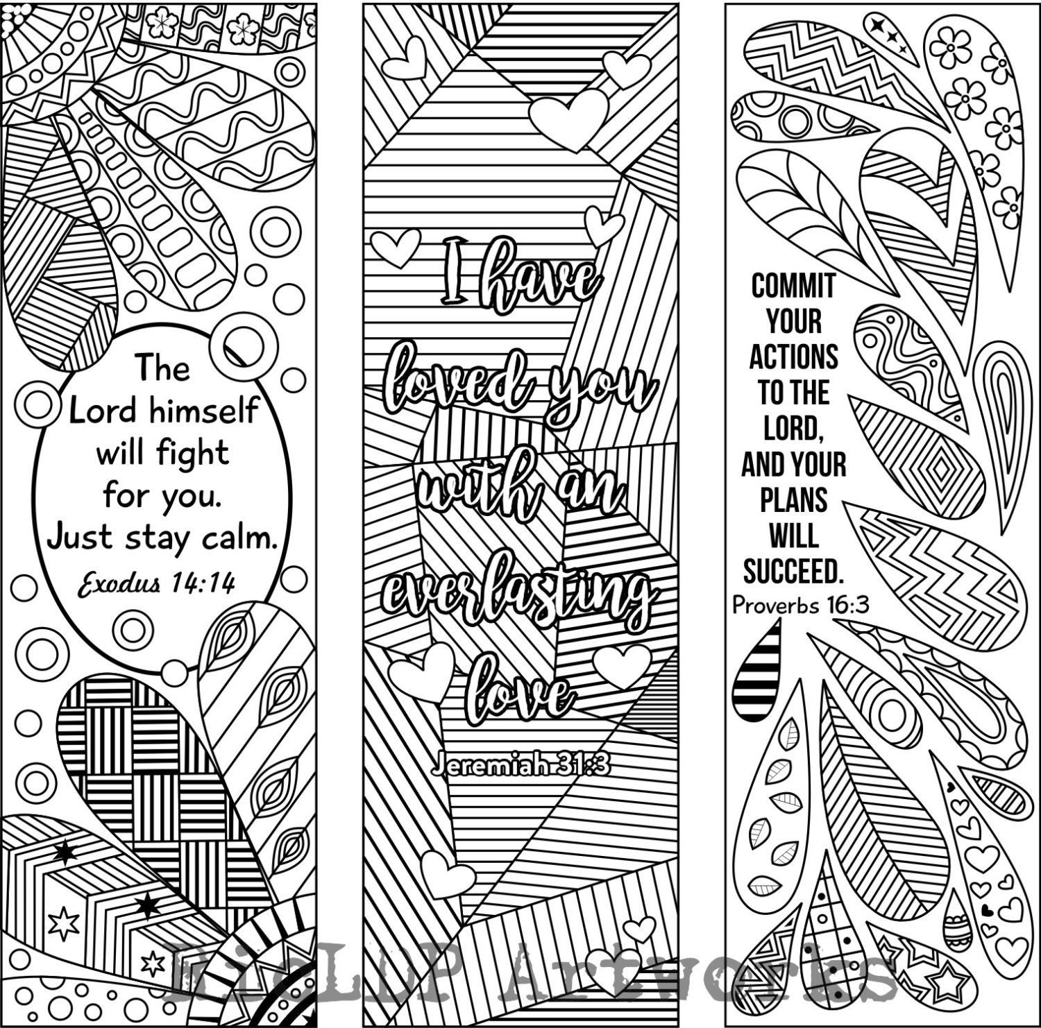 Religious bookmarks to color - 6 Bible Verse Coloring Bookmarks Plus 3 Designs By Ricldpartworks