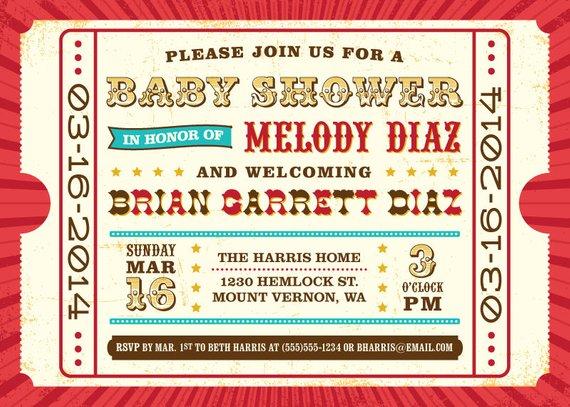 Printable Baby Shower Invitation Thank You Card Circus
