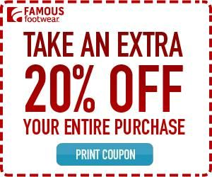 photograph regarding Shoe Department Printable Coupon referred to as 20% off Well known Shoes Coupon (Seek the services of Within-retail outlet or On the internet