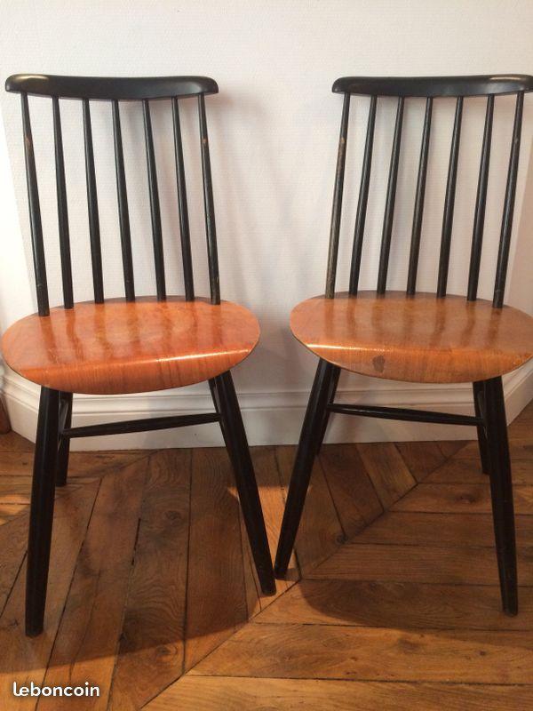 Je vends 2 chaises vintage style tapiovaara - fanett  Parfait pour