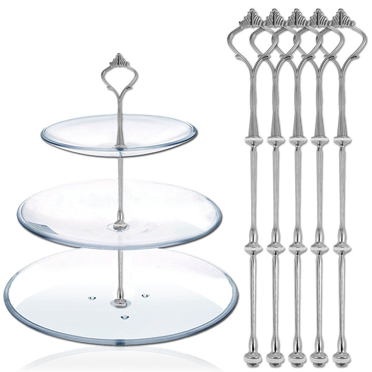 Cake stand fittings sets for 3 tier stands with fixings Many Patterns
