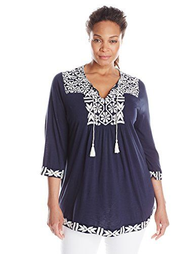 c38f4b010c3 Lucky Brand Women s Plus-Size Embroidered Peasant Top