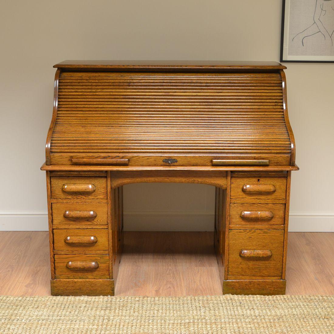 Quality Golden Oak Edwardian Antique Roll Top Desk Antique Desk Desk Golden Oak