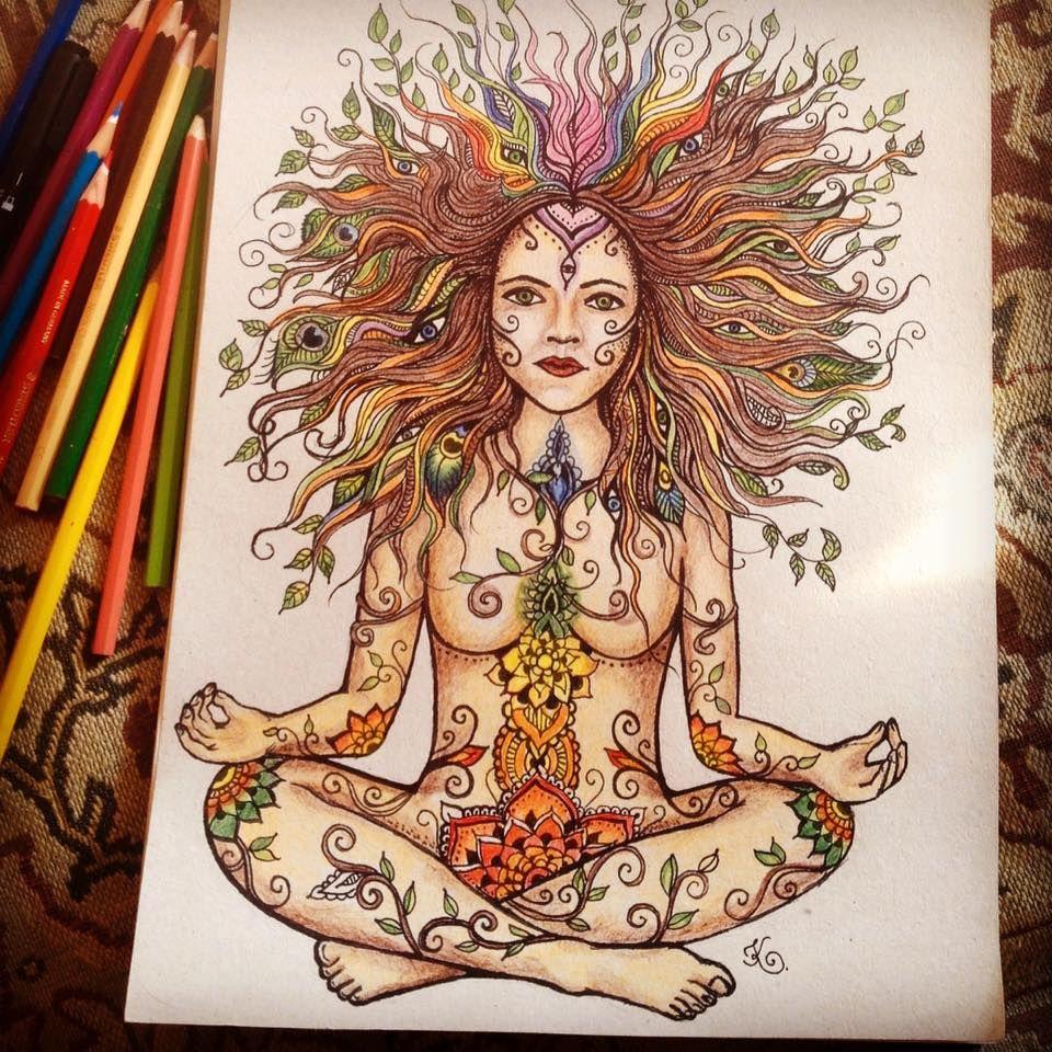 Drawing Meditation Woman Gaia Chakras Namaste Colour Pencil Yoga Lotus Bohemio