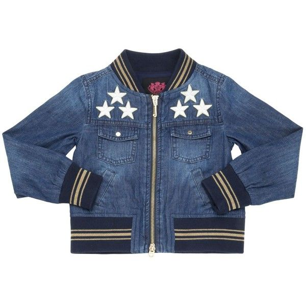 Juicy Couture Kids-girls Star & Tiger Patches Denim Bomber Jacket (2.145 NOK) ❤ liked on Polyvore featuring denim