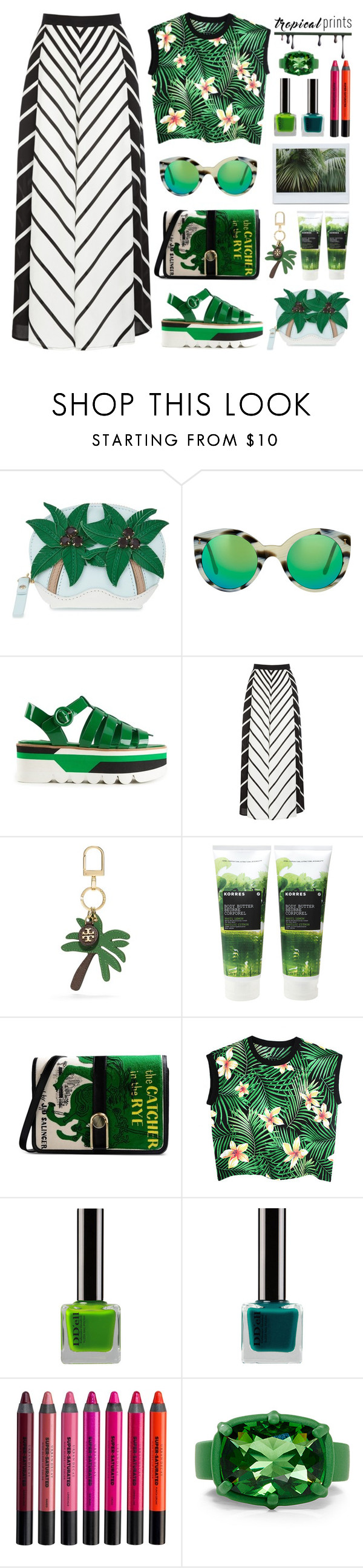 """""""In Tropical Mood"""" by stavrolga ❤ liked on Polyvore featuring Kate Spade, Illesteva, Dolce&Gabbana, Warehouse, Tory Burch, Korres, Olympia Le-Tan, Urban Decay, tropicalprints and polyvoreeditorial"""