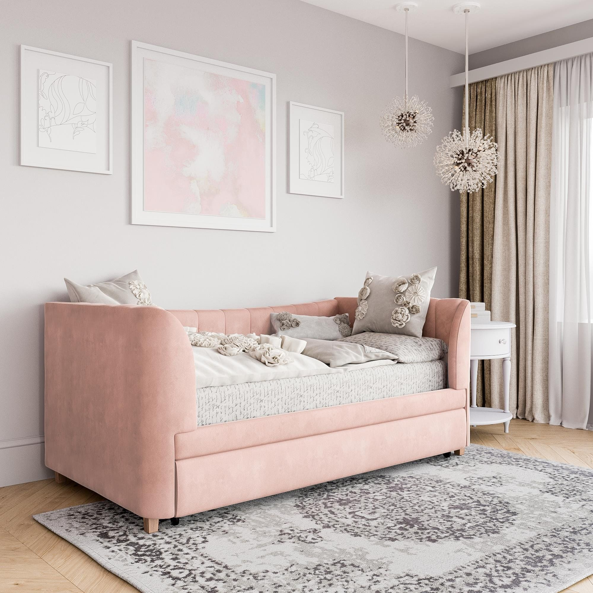 Little Seeds Valentina Upholstered Daybed with Trundle