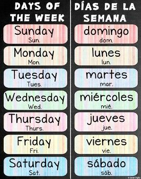 Days of the Week Poster 22x28 – Bilingual (Spanish and English)