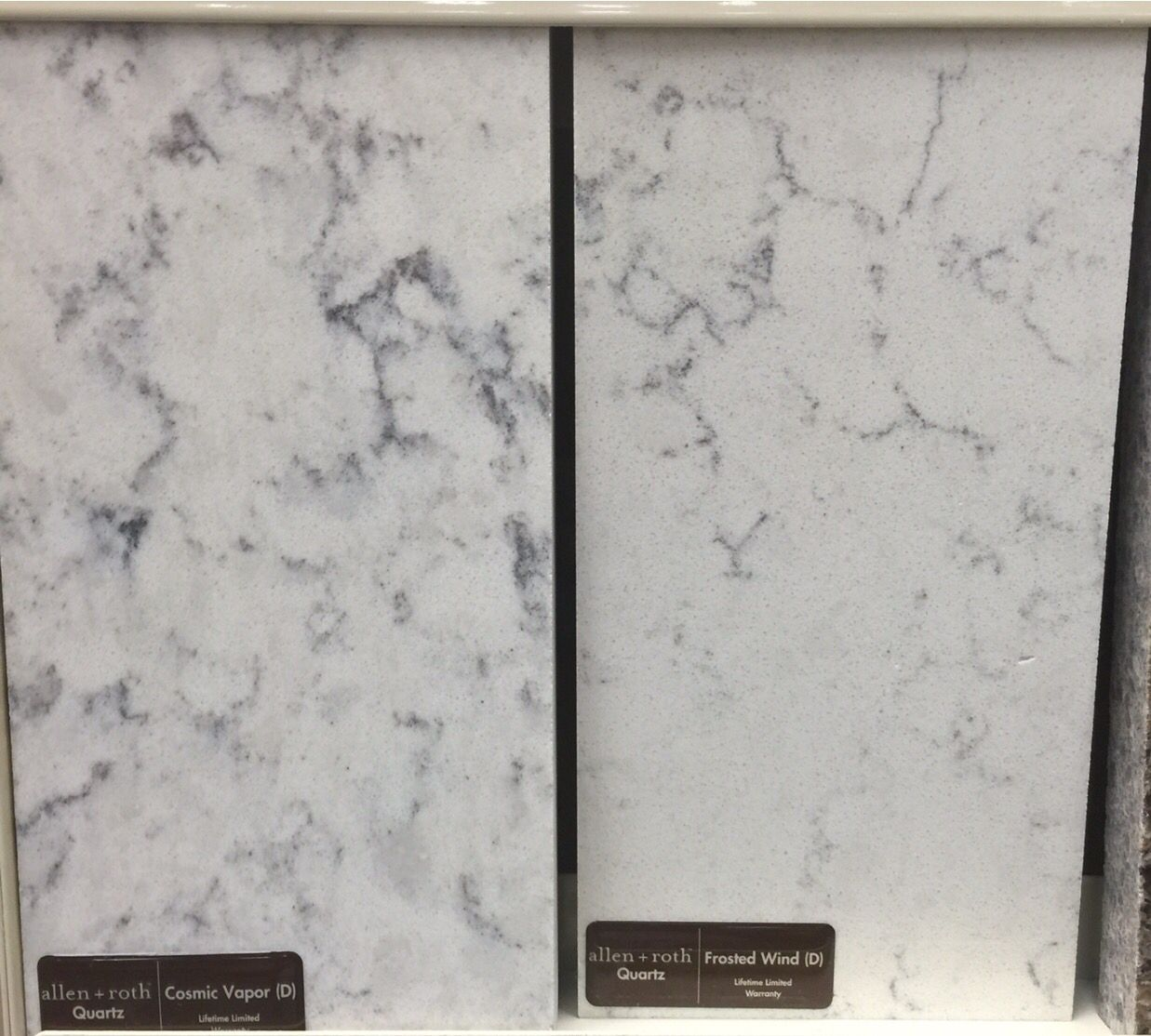 Allen + Roth Quartz Countertops. (L) Cosmic Vapor. (R) Frosted Wind. $70 A  Square Foot