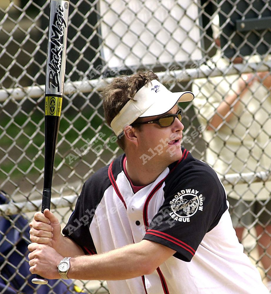 plays in the Broadway Softball League May 16, 2002 in New York City.