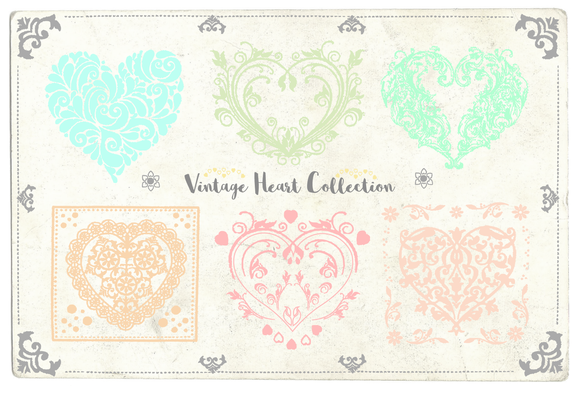 Vintage Vector Heart Collection by Bugcessories Design on Creative Market