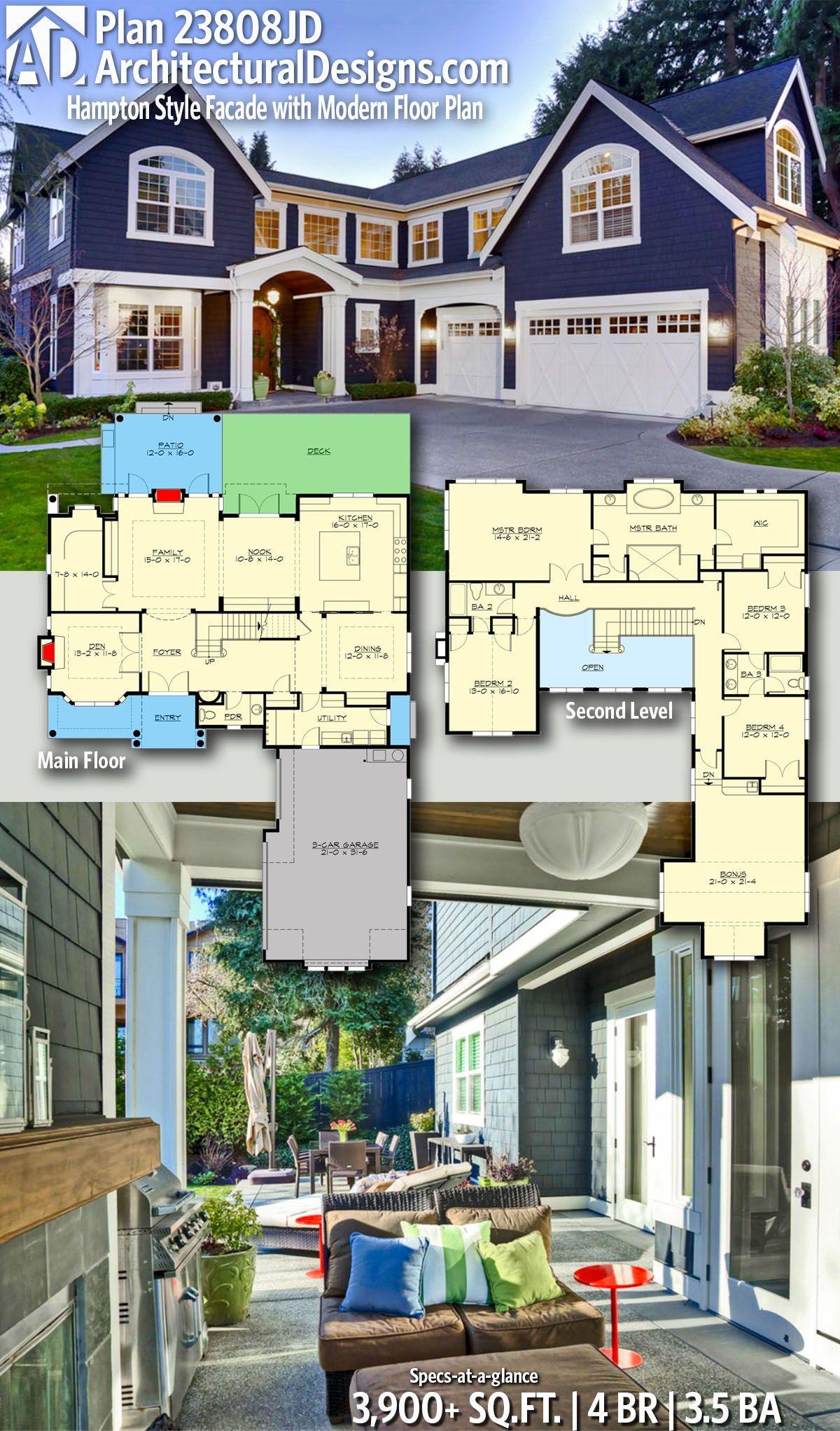 Plan 23808jd Hampton Style Facade With Modern Floor Plan Architectural Design House Plans Modern Floor Plans Dream House Plans