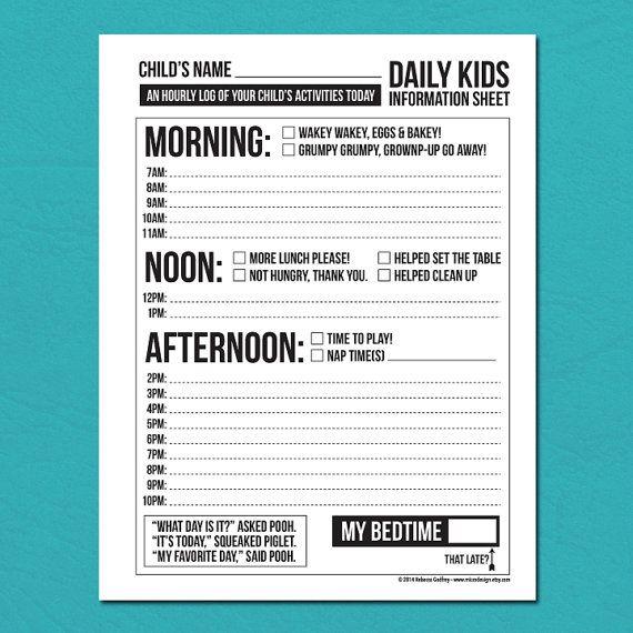 Daily Babysitting Or Nanny Report: Printable Pdf Sheet