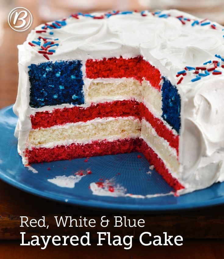 Red White And Blue Layered Flag Cake Recipe 4th Of July