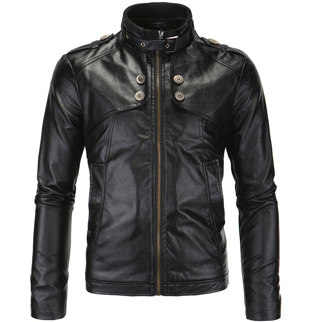 Mens Leather Jacket fur leather jacket coat stand collar